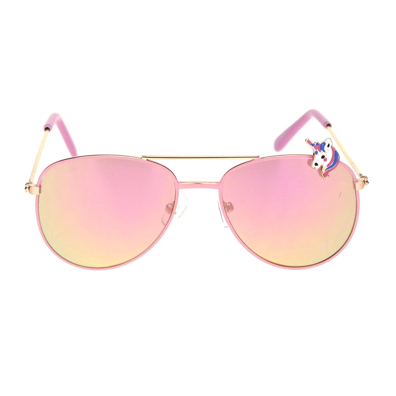 Kids Size Unicorn Badge Color Mirror Lens Pilots Sunglasses
