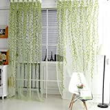 1M*2M Willow Twigs Pattern Room Window Sheer Drapes Curtain Green