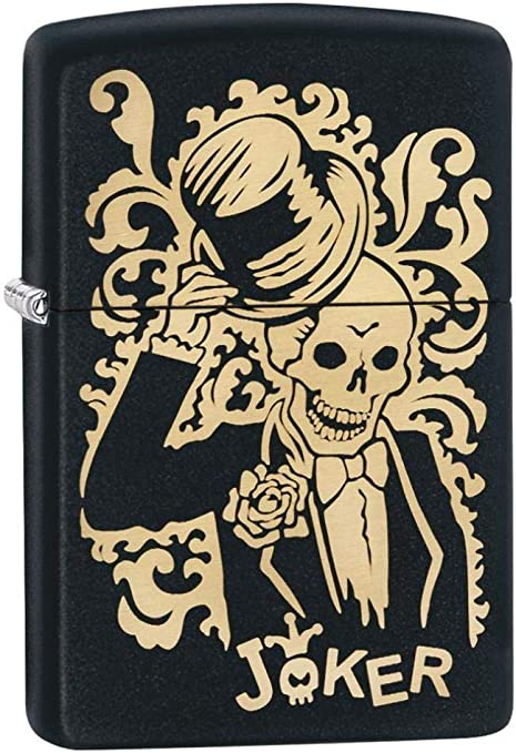 Zippo Joker - Mechero antiviento, Recargable, de Gasolina, Unisex, para Adulto, Negro, Regular, 5,7 x 3,7 x 1,2 cm: Amazon.es: Deportes y aire libre
