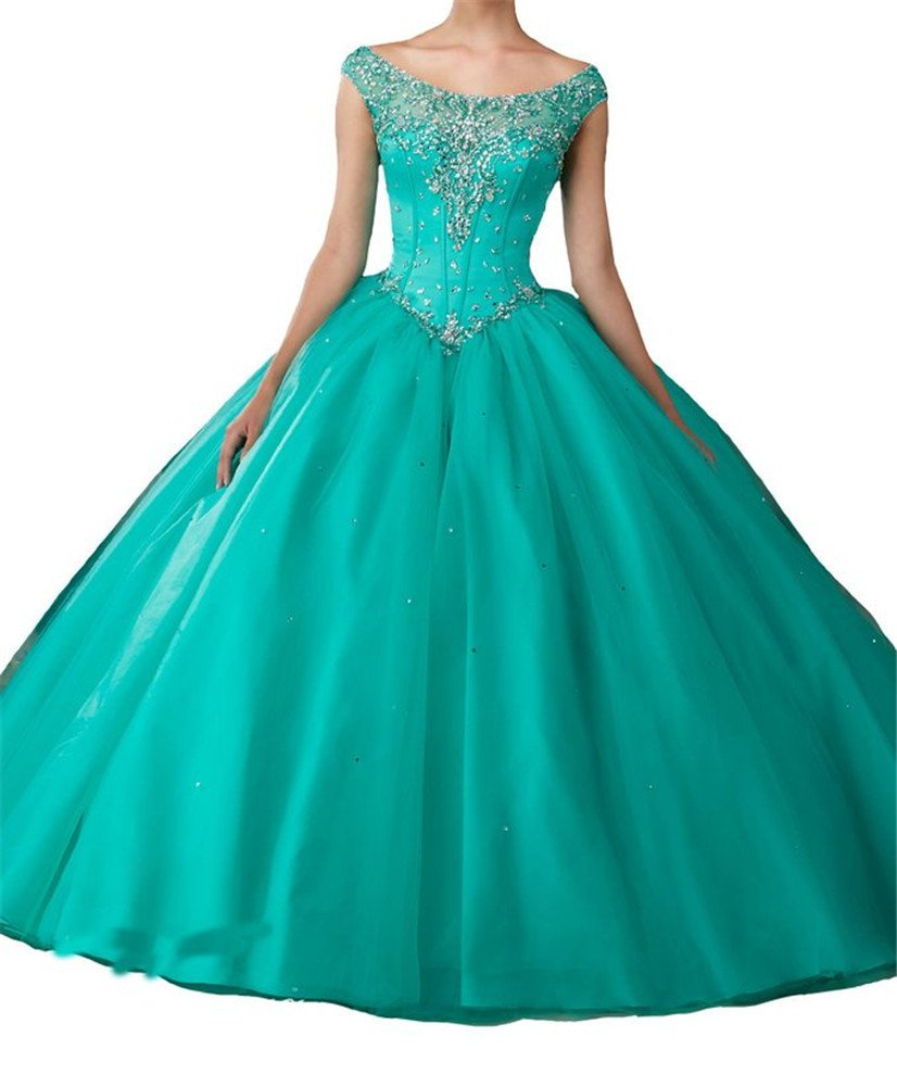 Junguan Women's Jeweled Beaded Satin Sweet 16 Gown Quinceanera Dresses