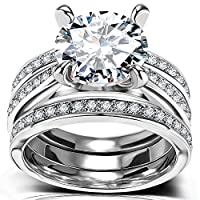 Round Cut CZ Bridal Set - 3 PCS/Set Big Solitaire Cubic Zirconia Engagement Wedding Ring Set for Women with Band