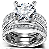 Round Cut CZ Bridal Set - 3 PCS/Set Big Solitaire Cubic Zirconia Engagement Wedding Ring Set for Women with Band
