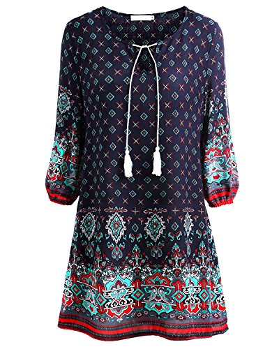 BAISHENGGT Women's Tied V-Neck Ethnic Printed Casual Mini Dress Medium Dark Blue Floral #2