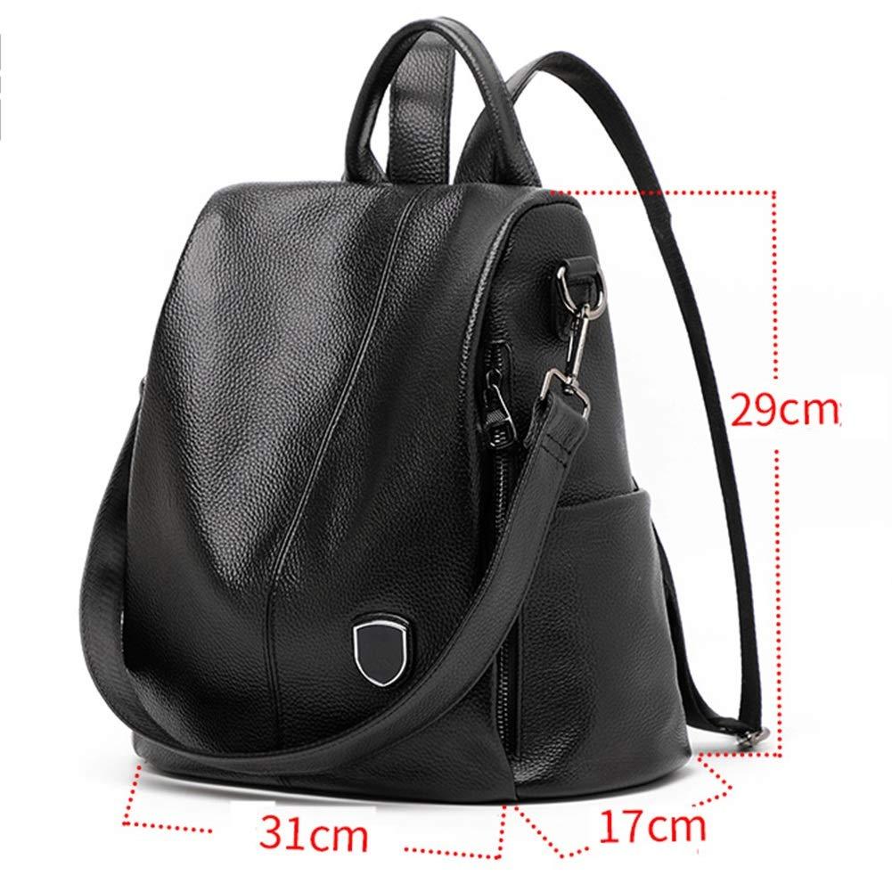 Color : Black, Size : 331833cm Backpack Leisure Bag Travel Bag Handbag Shoulder Bags Leather Ladies Backpack Wild Fashion Soft Leather Large Capacity Female Bag Tide CONGMING