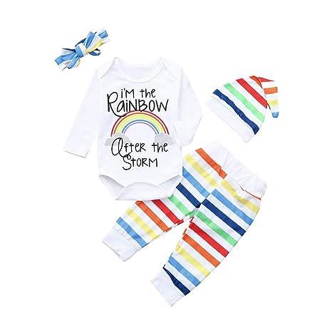 Ropa Bebe Niño Halloween Bebe Bebé Recién Nacido Niña Chico Carta Rainbow Mamelucos Mono Traje Pantalones
