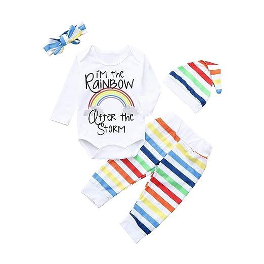Ropa Bebe Niño Halloween Bebe Bebé Recién Nacido Niña Chico Carta Rainbow Mamelucos Mono Traje Pantalones Ropa Conjunto: Amazon.es: Bebé