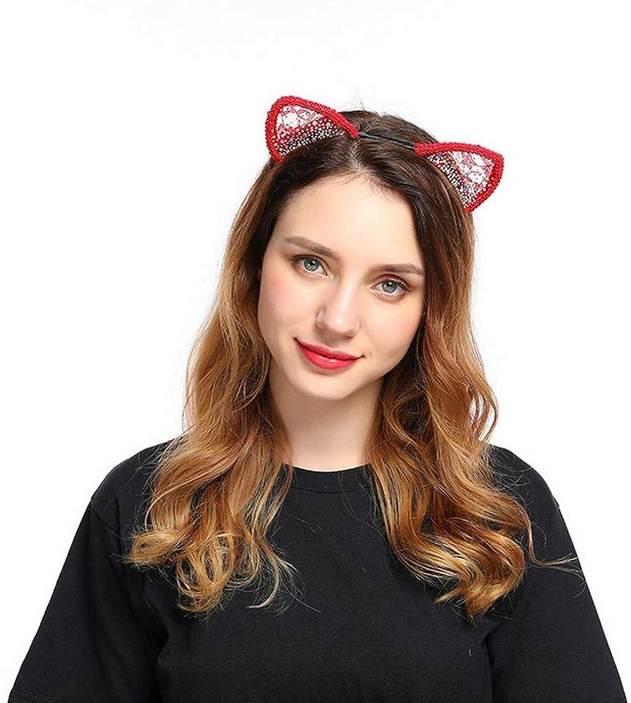 YAZILIND colorido rhinestone encaje gato orejas diadema fiesta cos pelo diadema accesorios