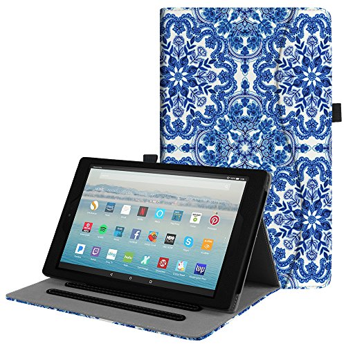 (Fintie Case for All-New Amazon Fire HD 10 Tablet (7th Generation, 2017 Release) - [Multi-Angle Viewing] Folio Stand Cover with Pocket Auto Wake/Sleep for Fire HD 10.1 Inch Tablet, Cobalt Blue)