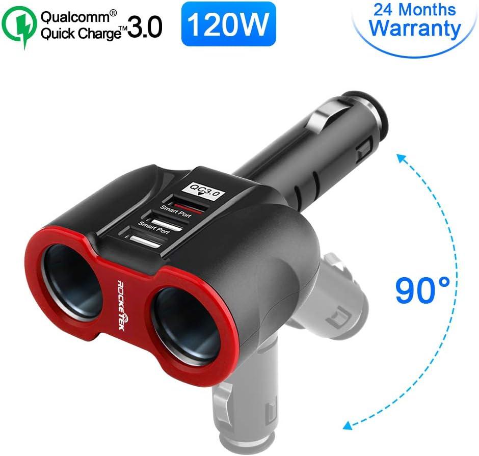 Eletrand Mechero Coche Cargador Coche 12V/24V DC 2 Ranuras de, Cargador de Coche con Puertos QC3.0 USB Puerto para Teléfonos Inteligentes/GPS/Dispositivo para vehículos