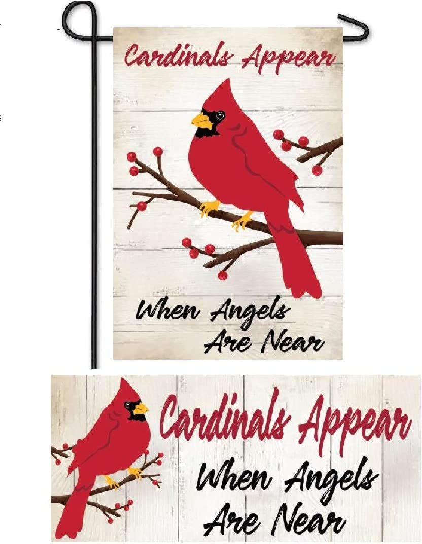Evergreen Flag Christmas Winter Welcome Flag and Doormat Set of Two 12.5 x 18 inch Cardinals Appear Garden Flag and Interchangeable Sassafras Mat for December Décor