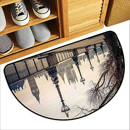 G Idle Sky London Non-Slip Door mat Big Ben and Houses of Parliament The Riverside with Retro Lanterns Picture Hard and wear Resistant W29 x L17 Tan Grey and Ivory -