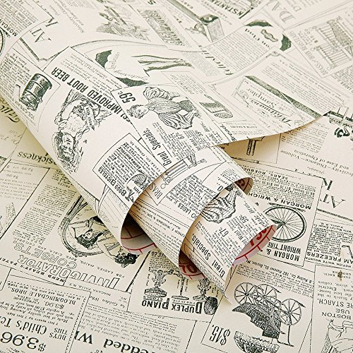 Yifely Vintage Newspaper Decorative Contact Paper Vinyl Self Adhesive Shelf Drawer Liner Home Decor 17x118 Inch
