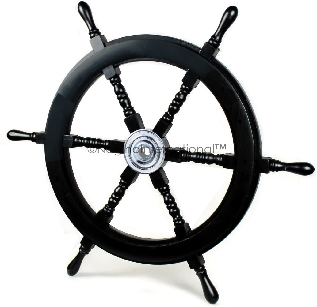 Nagina International Nautical Handcrafted Wooden Ship Wheel - Home Wall Decor (30 Inches, Black)