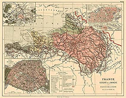 English Map Of France.Amazon Com France Manche English Channel Watershed Seine Somme