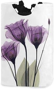 Print Elegant Tulip Purple Flower Laundry Hamper Laundry Basket Dirty Clothes Bag Violet Floral Modern Foldable Bucket Washing Bin Toys Storage Organizer for College Dorms, Kids Bedroom,Bathroom