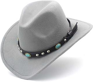 Shuo lan hu wai New Cappello da Cowboy Occidentale di Moda con Cappelli di Sombrero da Cowgirl di Feltro con Visiera arrotolata (Colore : Vino Rosso, Dimensione : 56-58CM)