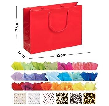 Purple Matt Laminated Landscape Boutique Shop Gift Bags Strong Bag /& Tissue