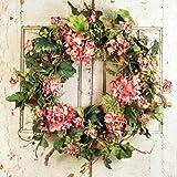 Pink Geranium Spring Front Door Wreath