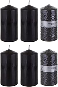 Mega Candles 6 pcs Unscented Black Round Pillar Candle, Pressed Premium Wax Candles 3 Inch x 6 Inch, Home Décor, Wedding Receptions, Baby Showers, Birthdays, Celebrations, Party Favors & More