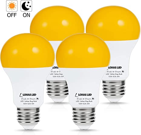 Lohas Yellow Led Bug Light Bulb Amber Yellow Bug Outdoor Porch Lights A19 Dusk To Dawn