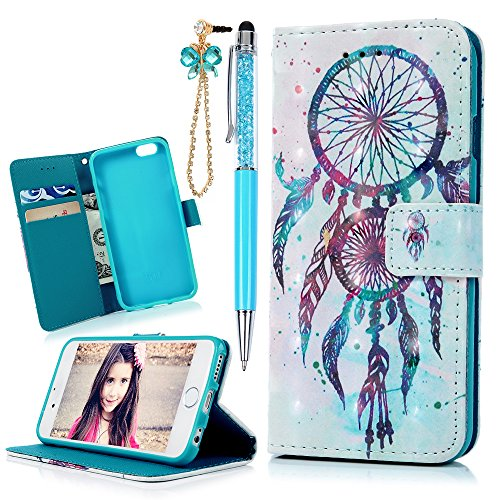iPhone 6S Case, iPhone 6 Case (Not for Plus), MOLLYCOOCLE 3D Relief Pattern Wallet Case PU Leather Soft TPU Inner Bumper Protective Cover Case for iPhone 6/6s, Blue Feather Dream Catcher