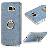 Image of Note 5 Case,Samsung Galaxy Note 5 Case - 360 Degree Rotating Metal Ring Kickstand with Bling Shiny Sparkle Detachable Back Shell Slim Fit Soft TPU Skin Gel Cover by Badalink - Blue