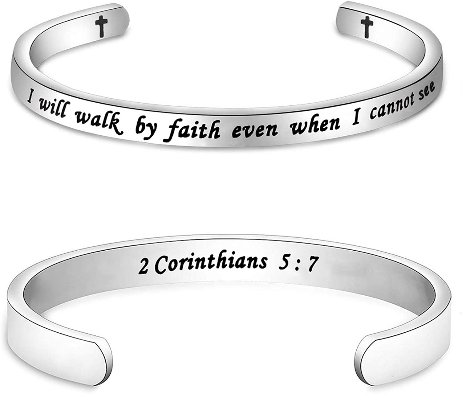 Gzrlyf Bible Verse Bracelet Cuff Bracelet I Will Walk by Faith Even When I Cannot See 2 Corinthians 5:7 Religious Gifts