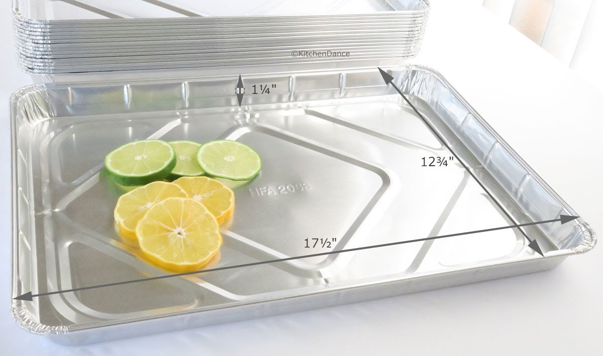 KitchenDance Disposable Aluminum 17-1/2'' x 12-13/16'' Half size Sheet Cake Pan #7300NL (50)