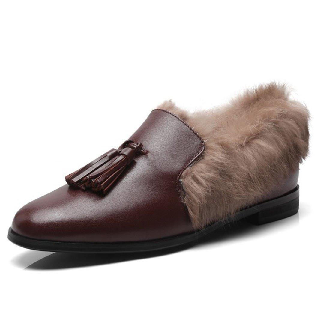 GAOLIXIA Damenschuhe Loafers Flach Freizeitschuhe Fransen Pelzigen Freizeitschuhe Mode Retro Warme Hausschuhe Schwarz Braun
