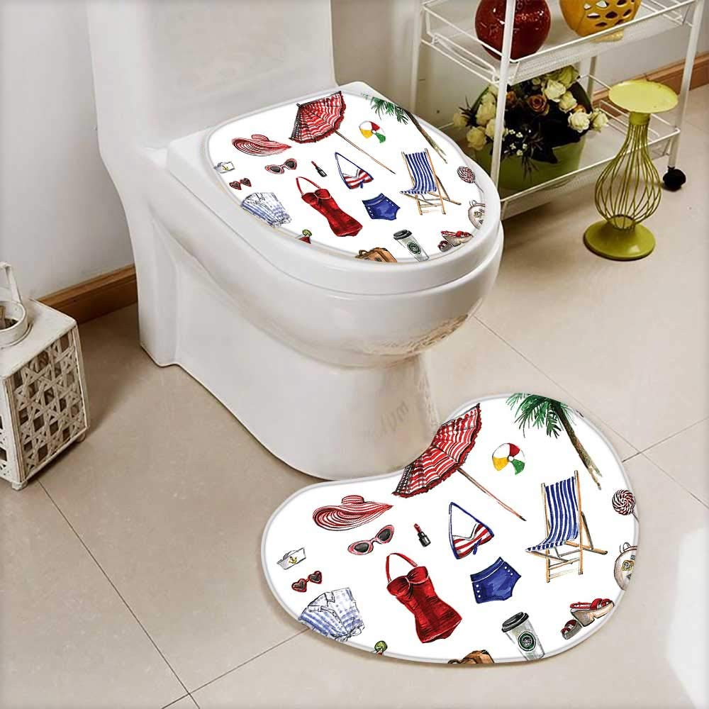 L-QN 2 Piece Anti-Slip Toilet mat Collection Nostalgic Female Beach Fashion Objects Solar Summer Hot Travel Adventure Palms Concept Anti-Slip Water Absorption