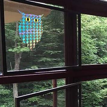 Pegatina reflectante autoadhesiva con diseño de búho, respetuosa con el medio ambiente, para decorar ventanas y pájaros, 100 unidades por rollo: Amazon.es: Oficina y papelería