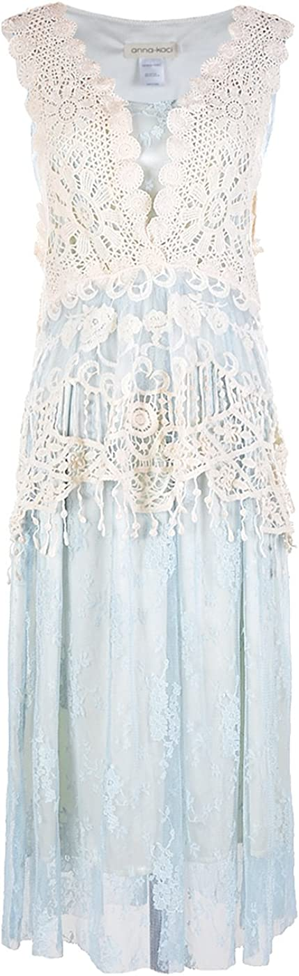 Anna-Kaci Womens Vintage Lace Gatsby 1920s Cocktail Dress with Crochet Vest