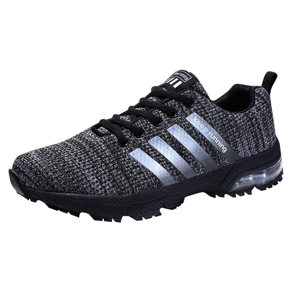 Qiusa Herren Atmungsaktive Laufschuhe Weiche Sohle Rutschfeste Durable Comfort Trainer (Farbe   Schwarz, Größe   EU 45)