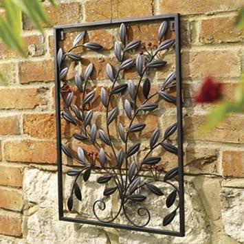 Berry Decorative Metal Garden Wall Art Trellis Black Amazon
