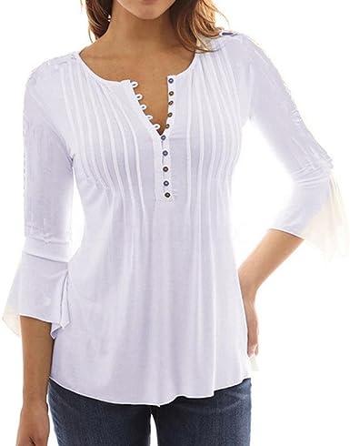 UMIPUBO Mujer Blusa 3/4 Manga Camisas Elegante Camisetas Primavera Verano Cuello EN V Tops: Amazon.es: Ropa y accesorios