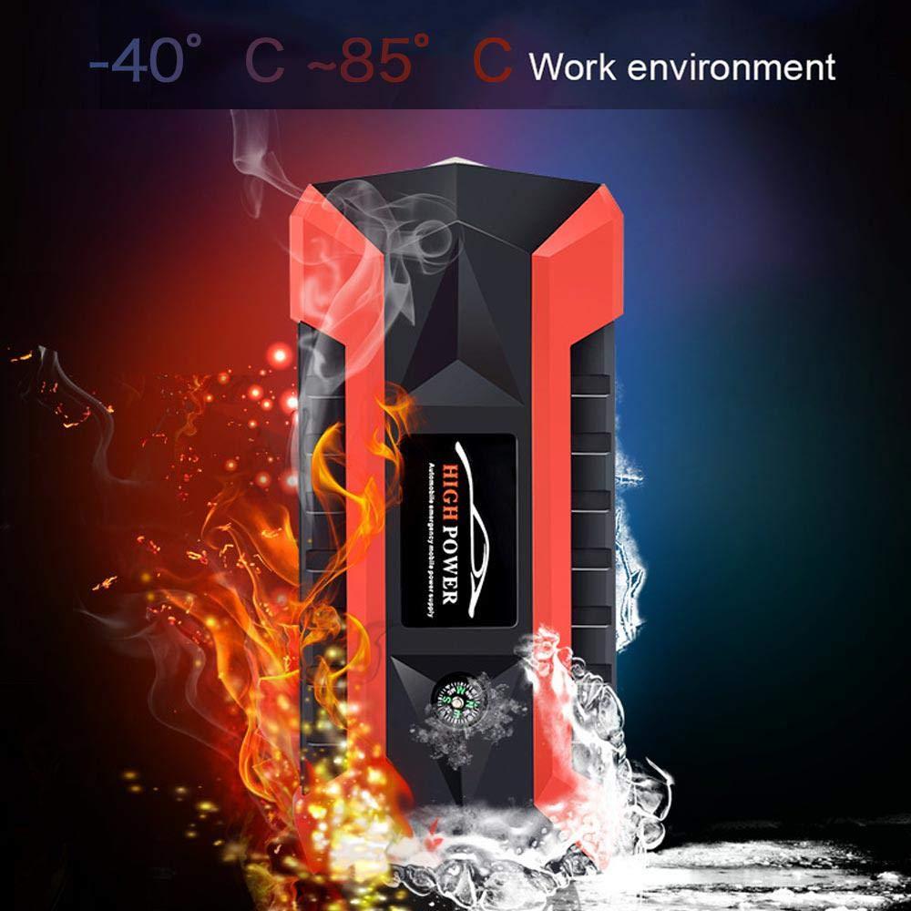 Baiwka Tragbarer Auto-Starthilfe LED-Taschenlampe Und Compas 1000A Peak 20000mAh Notbatterie-Booster-Pack Mit Zwei USB-Ladeausg/ängen