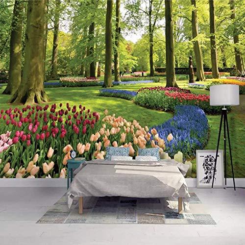 - ATR 3D Photo Wallpaper Modern Park Landscape Forest Flowers Tulips Wallpaper Living Room Tv Sofa Background Wallpaper 3D Fresco, 200X140Cm (78.74X55.12 in)