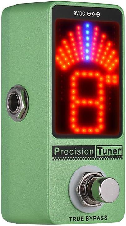 Muslady Pantalla LED de pedal sintonizador de precisión con bypass verdadero para bajo de guitarra cromática