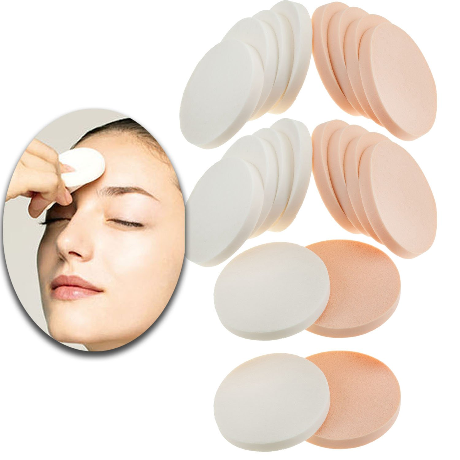 Beauty Make Up Set of 20pcs Latex Liquid Foundation Powders Compact Sponges Applicators Bronzers Concealers Application Rounds Blenders Blending Tools In Pink and White Colors