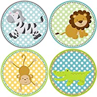 Safari Zoo Animals Sticker Labels - Boy Girl Birthday Baby Shower Party Favor Labels - Set of 50