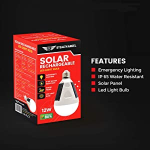 Stealth Angel Solar Rechargeable 12W LED Light Bulb - by Stealth Angel