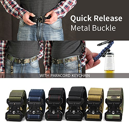 Review Men's Tactical Belt Camouflage Heavy Duty Utility Police Pistol Belt Military Style Army Gun Webbing Rigger's Nylon Web Belts with Quick Release Metal Buckle and Extra Paracord Keychain Carabiner