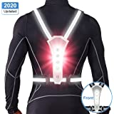 ANCROWN LED Reflective Running Vest, 2020 Updated High Visibility Warning Lights for Runners, Adjustable Elastic Safety Gear Accessories for Men/Women Night Running, Walking, Cycling/Biking