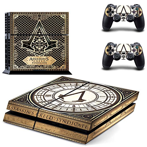 Hambur® Sony PlayStation 4 Skin Decal Sticker Set - Exclusive Assassin's Creed: Syndicate (1 Console Sticker + 2 Controller - Planet Pre Order 2 Blue