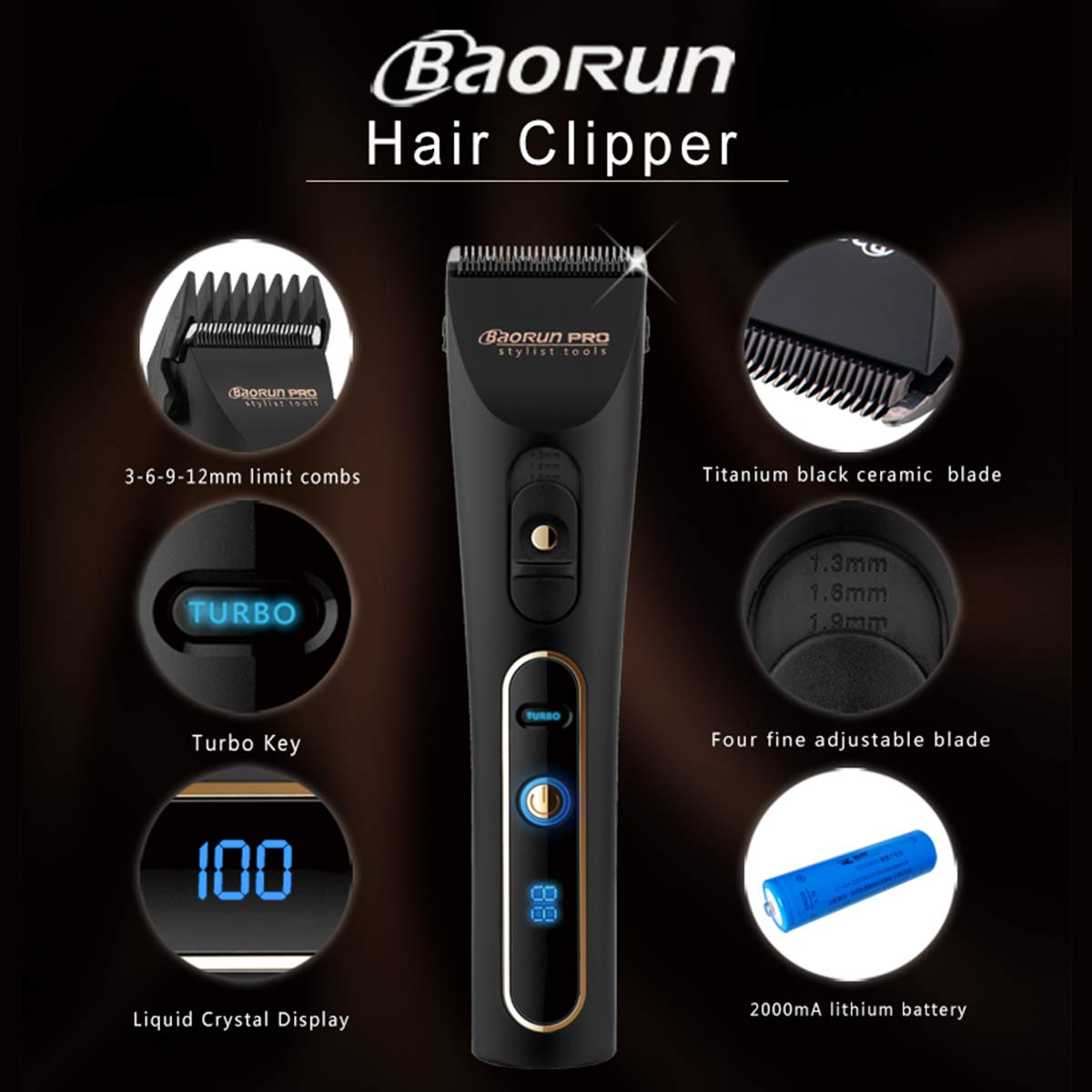 BaoRun Hair Clippers Low Noise Ceramic Blade Waterproof Cordless Clipper for Men and Kids
