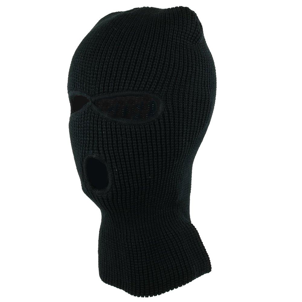 3つ穴スキーフェイスマスクビーニー帽子 One Size ブラック B01N9FZ199