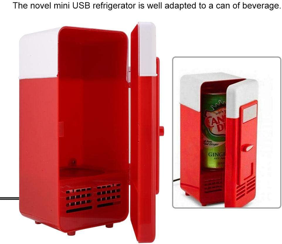Rojo Garsent Refrigerador USB Mini refrigerador Refrigerador port/átil USB Bebida Cerveza Latas de Bebida Enfriador//Calentador Congelador para PC port/átil Oficina.