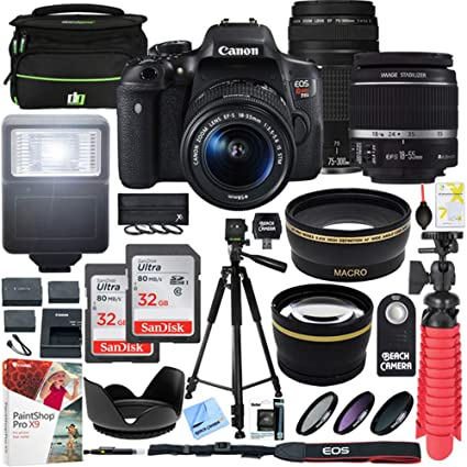 Canon EOS Rebel T6i DSLR Camera with EF-S 18-55mm f/3 5-5 6 is II and EF  75-300mm f/4-5 6 III Lens and 2X 16GB Memory Card Plus Triple Battery