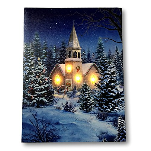 BANBERRY DESIGNS Christmas Wall Art - Church at Night Picture with LED Lights - Winter Scene Canvas Print]()