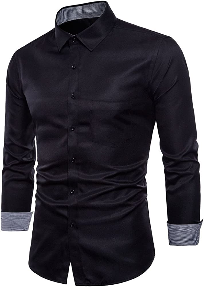 Hot Zlolia Men's Oxford Formal Casual Suits Long Sleeve Slim Fit Tee Dress Shirts Blouse Top: Clothing